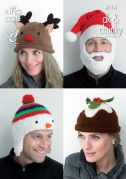 King Cole Adults Christmas Novelty Hats Big Value Knitting Pattern 4114  DK, Chunky
