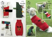 King Cole Pets Christmas Novelty Dog Coats Big Value Knitting Pattern 4115  DK