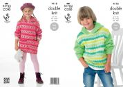 King Cole Childrens Sweater Dress & Hoodie Splash Knitting Pattern 4118  DK