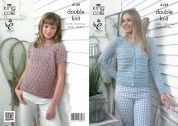 King Cole Ladies Sweater & Cardigan Authentic Knitting Pattern 4129  DK