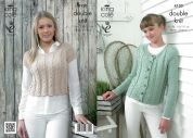 King Cole Ladies Top & Cardigan Authentic Knitting Pattern 4130  DK