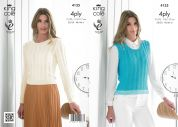King Cole Ladies Sweater & Slipover Bamboo Cotton Knitting Pattern 4135  4 Ply