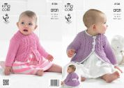 King Cole Baby Coat & Cardigan Big Value Recycled Knitting Pattern 4136  Aran