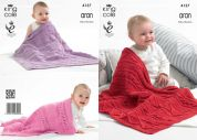 King Cole Baby Blankets Big Value Recycled Knitting Pattern 4137  Aran