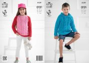 King Cole Childrens Sweaters Big Value Recycled Knitting Pattern 4139  Aran