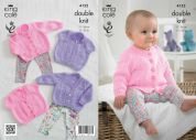 King Cole Baby Cardigans Big Value Knitting Pattern 4152  DK