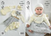 King Cole Baby Cardigans, Top & Hat Big Value Knitting Pattern 4153  DK