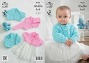 King Cole Baby Cardigans Big Value Knitting Pattern 4155  DK