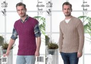 King Cole Mens Sweater & Slipover Cottonsoft Knitting Pattern 4161  DK