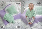 King Cole Baby Cardigan, Blankets & Cushions Cuddles Knitting Pattern 4177  Chunky
