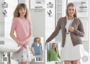 King Cole Ladies Sweater & Cardigan Opium Knitting Pattern 4178