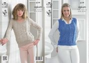 King Cole Ladies Sweater & Slipover Opium Knitting Pattern 4179