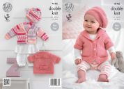 King Cole Baby Cardigans & Beret Cherish Knitting Pattern 4192  DK