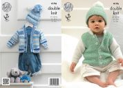 King Cole Baby Cardigans & Hat Cherish Knitting Pattern 4196  DK