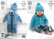 King Cole Baby Cardigans & Hat Cherish Knitting Pattern 4198  DK