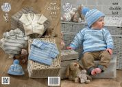King Cole Baby Cardigan, Top, Sweater & Hat Candystripe Knitting Pattern 4204  DK