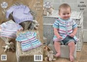King Cole Baby Dress, Top & Cardigan Candystripe Knitting Pattern 4206  DK