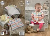 King Cole Baby Dress, Bolero & Cardigan Candystripe Knitting Pattern 4207  DK
