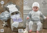 King Cole Baby Dress, Sweater, Cardigan & Hat Melody Knitting Pattern 4208  DK