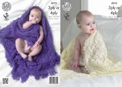 King Cole Baby Shawls Comfort Knitting Pattern 4210  3 Ply, 4 Ply