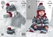 King Cole Baby Jackets, Sweater, Hat & Socks Comfort Knitting Pattern 4213  DK