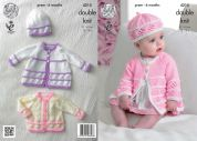 King Cole Baby Matinee Coats, Cardigans, Beret & Hat Comfort Knitting Pattern 4215  DK