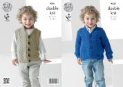 King Cole Boys Waistcoat & Cardigan Big Value Knitting Pattern 4221  DK