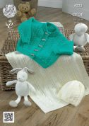 King Cole Baby Cardigan, Blanket & Hat Comfort Knitting Pattern 4223  Aran