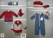 King Cole Baby Onesie, Jacket, Top & Hat Comfort Knitting Pattern 4228  Chunky
