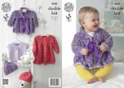King Cole Baby Dress, Coat, Waistcoat & Hat Cuddles Knitting Pattern 4230  DK