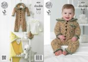 King Cole Baby Onesie, Sweater, Blanket & Hat Cuddles Knitting Pattern 4231  DK