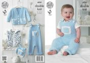 King Cole Baby Dungarees, Cardigan, Waistcoat & Hat Cuddles Knitting Pattern 4232  DK