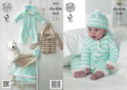 King Cole Baby Onesie, Coat, Hat & Blanket Flash Knitting Pattern 4233  DK