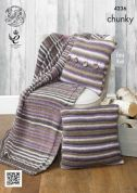 King Cole Home Blanket & Cushion Covers Riot Knitting Pattern 4236  Chunky