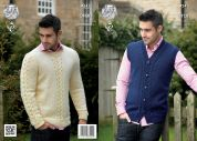 King Cole Mens Waistcoat & Sweater Fashion Knitting Pattern 4241  Aran