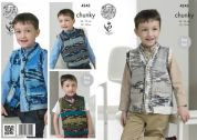 King Cole Boys Waistcoat & Slipover Big Value Knitting Pattern 4343  Chunky