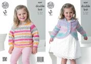 King Cole Girls Sweater & Cardigan Splash Knitting Pattern 4247  DK