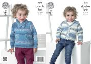 King Cole Boys Sweater & Cardigan Splash Knitting Pattern 4248  DK
