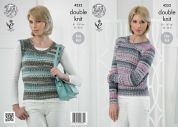 King Cole Ladies Sweater & Slipover Drifter Knitting Pattern 4252  DK