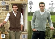 King Cole Mens Cardigan & Waistcoat Panache Knitting Pattern 4273  DK