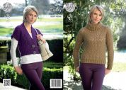 King Cole Ladies Waistcoat & Sweater New Magnum Knitting Pattern 4277  Chunky