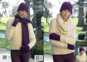 King Cole Ladies Sweater, Cowl, Hat, Scarf & Fingerless Gloves New Magnum Knitting Pattern 4279  Chunky