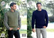 King Cole Mens Sweater & Slipover New Magnum Knitting Pattern 4282  Chunky