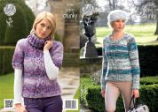 King Cole Ladies Sweaters Big Value Knitting Pattern 4286  Super Chunky