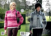 King Cole Ladies Jacket & Sweater Big Value Knitting Pattern 4288  Super Chunky