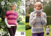 King Cole Ladies Sweaters & Cowl Big Value Knitting Pattern 4289  Super Chunky
