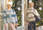 King Cole Ladies Sweater & Cardigan Big Value Knitting Pattern 4291  Super Chunky