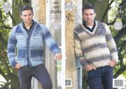 King Cole Mens Sweater & Cardigan Big Value Knitting Pattern 4292  Super Chunky
