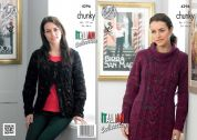 King Cole Ladies Dress & Cardigan Florence Knitting Pattern 4296  Chunky