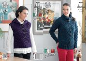 King Cole Ladies Sweater & Hooded Waistcoat Florence Knitting Pattern 4297  Chunky
